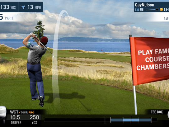 A screenshot from the WGT Golf Mobile app.