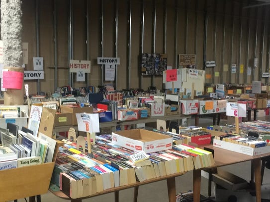 Friends of the Library hold and sell used books on