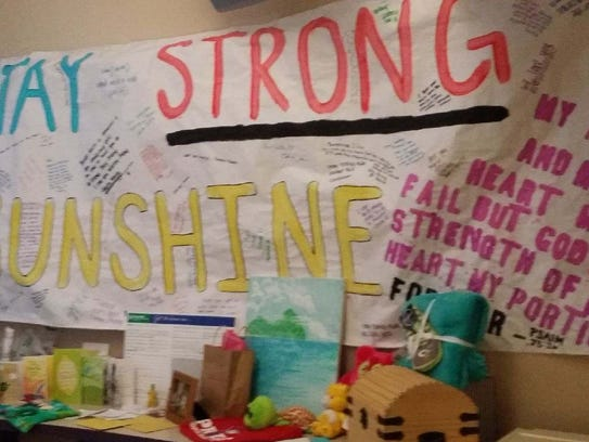 A wall was set up in the hospital for Marley Mercer