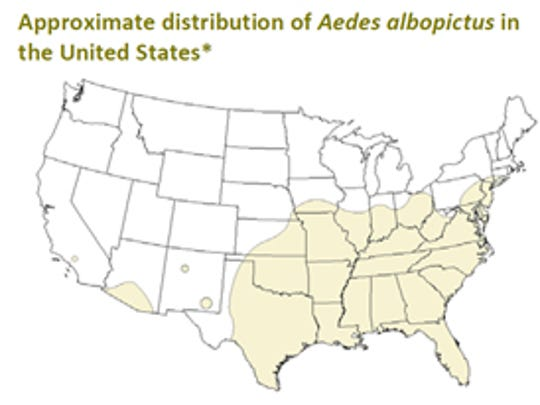 Ranges for the Aedes aegypti and Aedes albopictus mosquito. (Source: Centers for Disease Control)