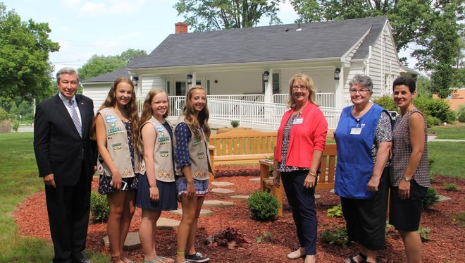 Pictured: Left to right: Robert P. Wise, President and CEO of Hunterdon Healthcare, Olivia Artale, Nicole Dowd, Emily Davis, Pat Garland, Manager of Yesterday's Treasures Thrift Shop, Mary Lynn Damaschke, Volunteer at Yesterday's Treasures Thrift Shop and Mary Vanacore, representing her son Robert Vanacore.