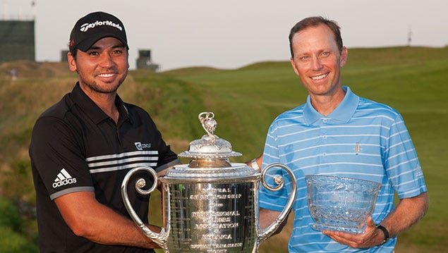 Quaker Ridge head professional Brian Gaffney poses for a photo with PGA Champion Jason Day and the Wanamaker Trophy after finishing as the low club pro last August at Whistling Straits in Wisconsin.