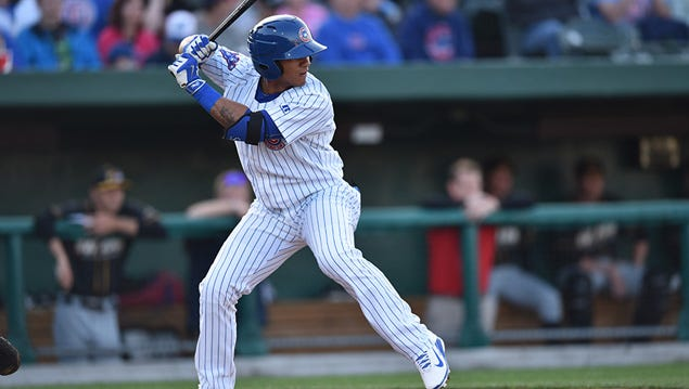 Gleyber Torres at bat with the South Bend Cubs in 2015.