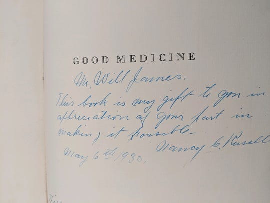"In 1930, Nancy Russell wrote to artist/author Will James her appreciation of his part in making possible ""Good Medicine: Memories of the Real West"" by C.M. Russell."