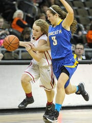 Dixie's Caroline Buddenburg tries to race the ball