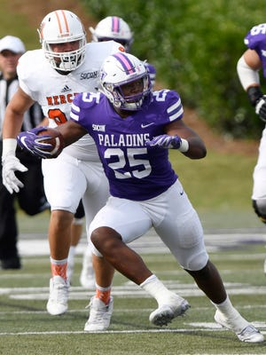 Antonio Wilcox (25) says Furman's ability to practice with intensity has paid off in games.