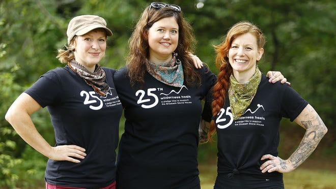 From left, Amanda Clark, Katie Weeks and Candace Puopolo, all of Rockland, hiked in the White Mountains of New Hampshire as part of the 25th Wilderness Heals walk.