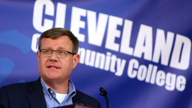 Speaker Tim Moore shares news of a $1 million gift to Cleveland Community College during an announcement at the college on Tuesday.