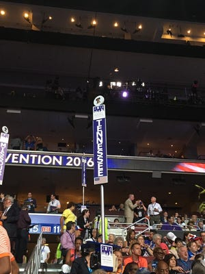 Marker for the Tennessee Democratic Party delegation inside the Wells Fargo Center in Philadelphia, Monday, July, 25, 2016