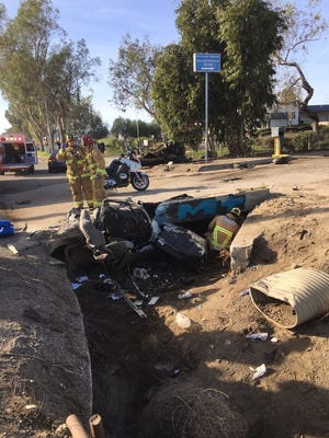 The scene of a fatal single-vehicle crash along Sturgis Road just outside of Oxnard on Wednesday.