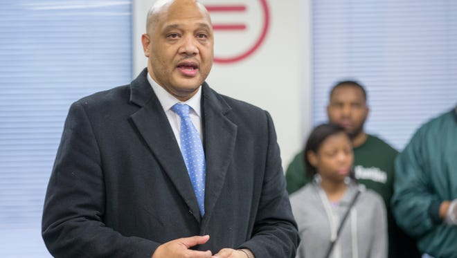 Andre Carson, U.S. Representative, speaks at a breakfast prior to the annual MLK Jr. event at Madame Walker Theatre, Monday, January 16, 2018.
