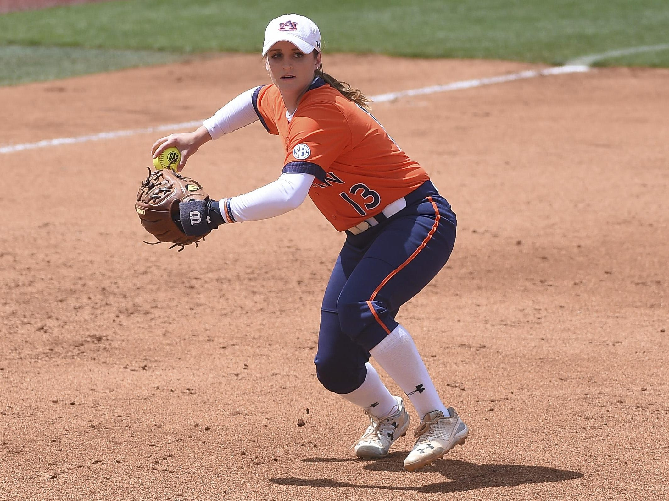 Kasey Cooper (13). Auburn softball vs LSU during the SEC Tournament semifinals on Saturday, May 13, 2017, in Knoxville, Tenn. Dakota Sumpter/Auburn Athletics