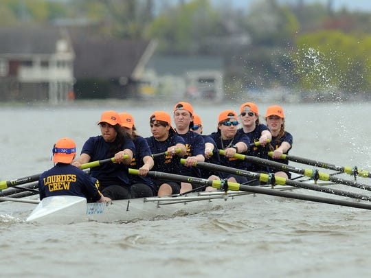 The Our Lady of Lourdes High School mixed novice 8