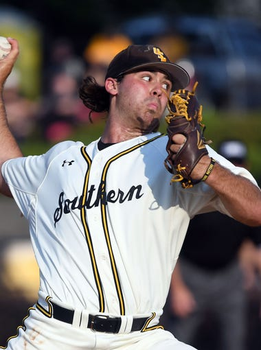 Southern Miss pitcher Jarod Wright throws the ball in a game against UNO at Pete Taylor Park on Tuesday, May 15, 2018.
