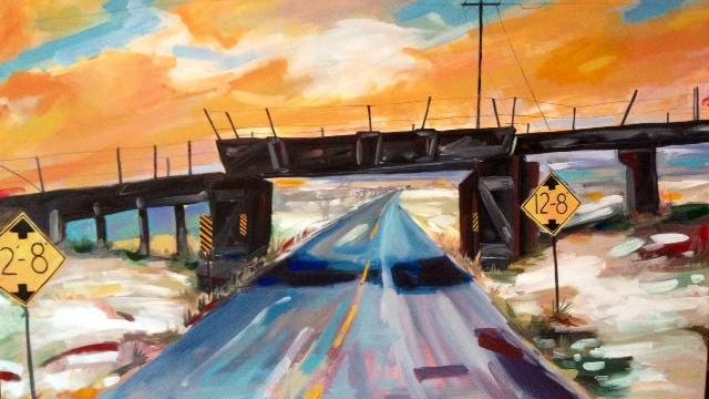 """Morning Sky Hwy P,"" an acrylic by Anne Raskopf, is among the works that will be featured during the Alive in the Arts juried exhibition opening Friday, June 5, at the Plymouth Arts Center and Gallery 110 North."