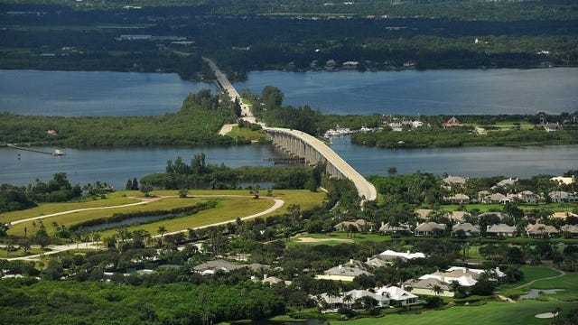 An aerial of Wabasso Bridge, State Road 510, the Indian River Lagoon, and Orchid Island.