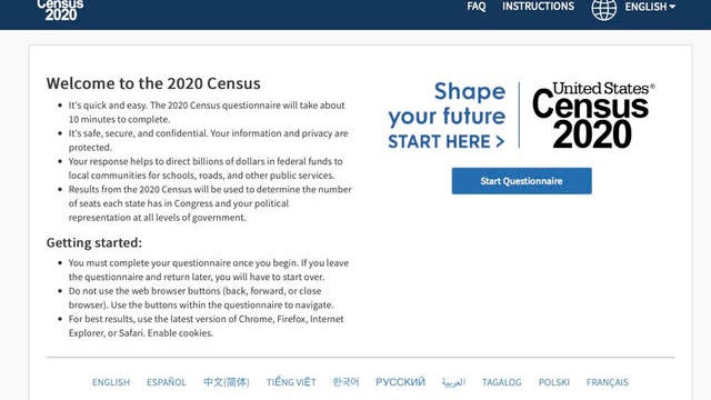 This photo provided by the U.S. Census 2020, shows the homepage of the United States' Census 2020 website on Tuesday. The 2020 census is off and running for much of America now. The U.S. Census Bureau made a soft launch of the 2020 census website on Monday, making its form available online. On Thursday, the Census Bureau will begin mailing out notices far and wide.