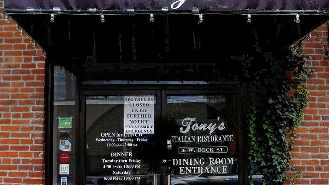 Tony's Italian Ristorante, 16 W. Beck St. in Columbus, has closed temporarily after the unexpected death of its longtime chef, Antonio Stanley.