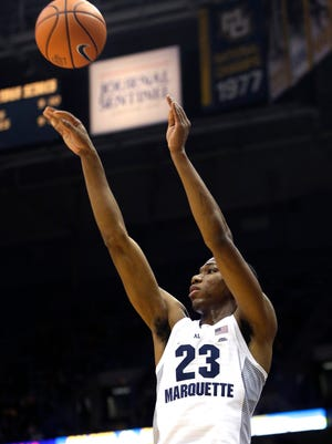 Marquette freshman Jamal Cain is shooting 8 of 14 (57%) on threes in conference play.