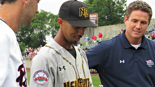 Former Somerset Patriots catcher James Skelton, who now plays for the New Britain Bees, gets his 2015 championship ring during a pregame ceremony on Monday.
