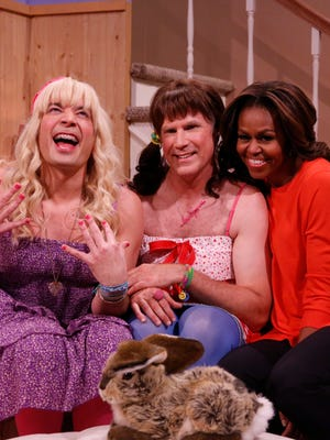 "Jimmy Fallon, Will Ferrell, Michelle Obama during the ""Ew"" skit on Feb. 20."
