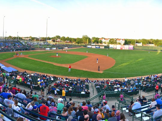 The Canaries go against the Chicago Dogs in the American Association opener Friday, May 18, at Sioux Falls Stadium. This photo was created by a series of images.