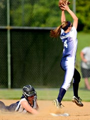 Dallastown's Lyndee Anders, right, catches the ball