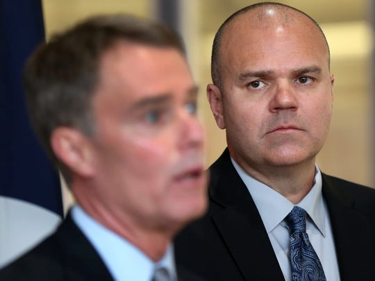 Indianapolis mayor Joe Hogsett (left) and Chief of Police Troy Riggs.