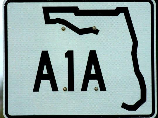 State Raod A1A road sign on Hutchinson Island near Stuart.