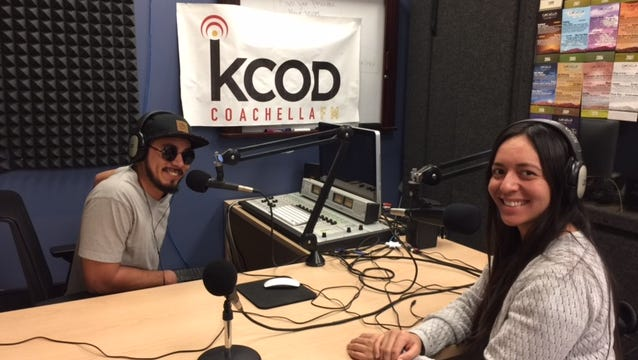 College of the Desert students Oscar Alvarez, left, and Giselle Woo, right, are part of the college's radio station KCOD.