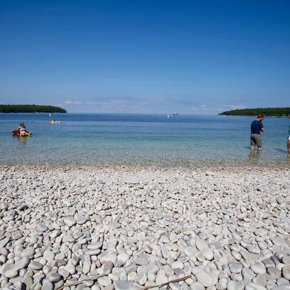 Schoolhouse Beach on Washington Island features smooth,
