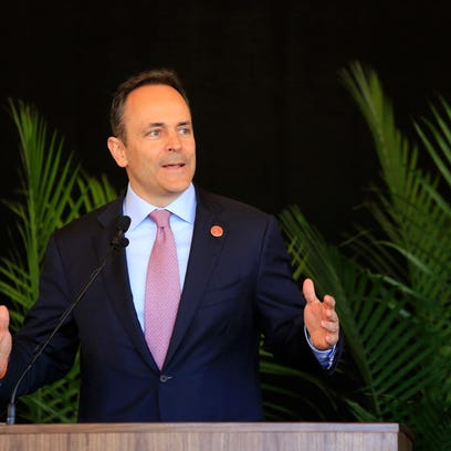 Kentucky Governor Matt Bevin makes a point while speaking