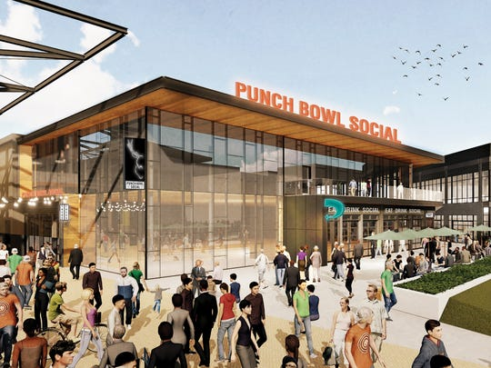 A rendering for the Punch Bowl Social restaurant that will open in the Milwaukee Bucks entertainment block under construction outside the new Milwaukee Bucks arena.
