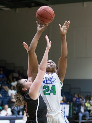 Toni Brewer (24) shoots over Rafaella Angelidou (31) during the basketball game against Christian Brothers University at the University of West Florida in Pensacola on Tuesday, February 28, 2017.