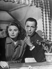 """Ilsa (Ingrid Bergman) and Rick (Humphrey Bogart) are star-crossed lovers caught in a world at war in the 1942 film, """"Casablanca."""" The film will be shown at The Rex Theatre on Wednesday."""