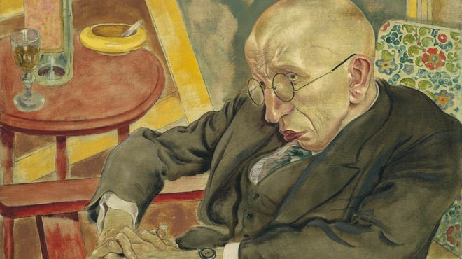 """A 1927 portrait of """"The Poet Max Herrmann-Neisse"""" by George Grosz."""