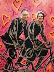 Martha Kiel painted a cut-out so those attending a