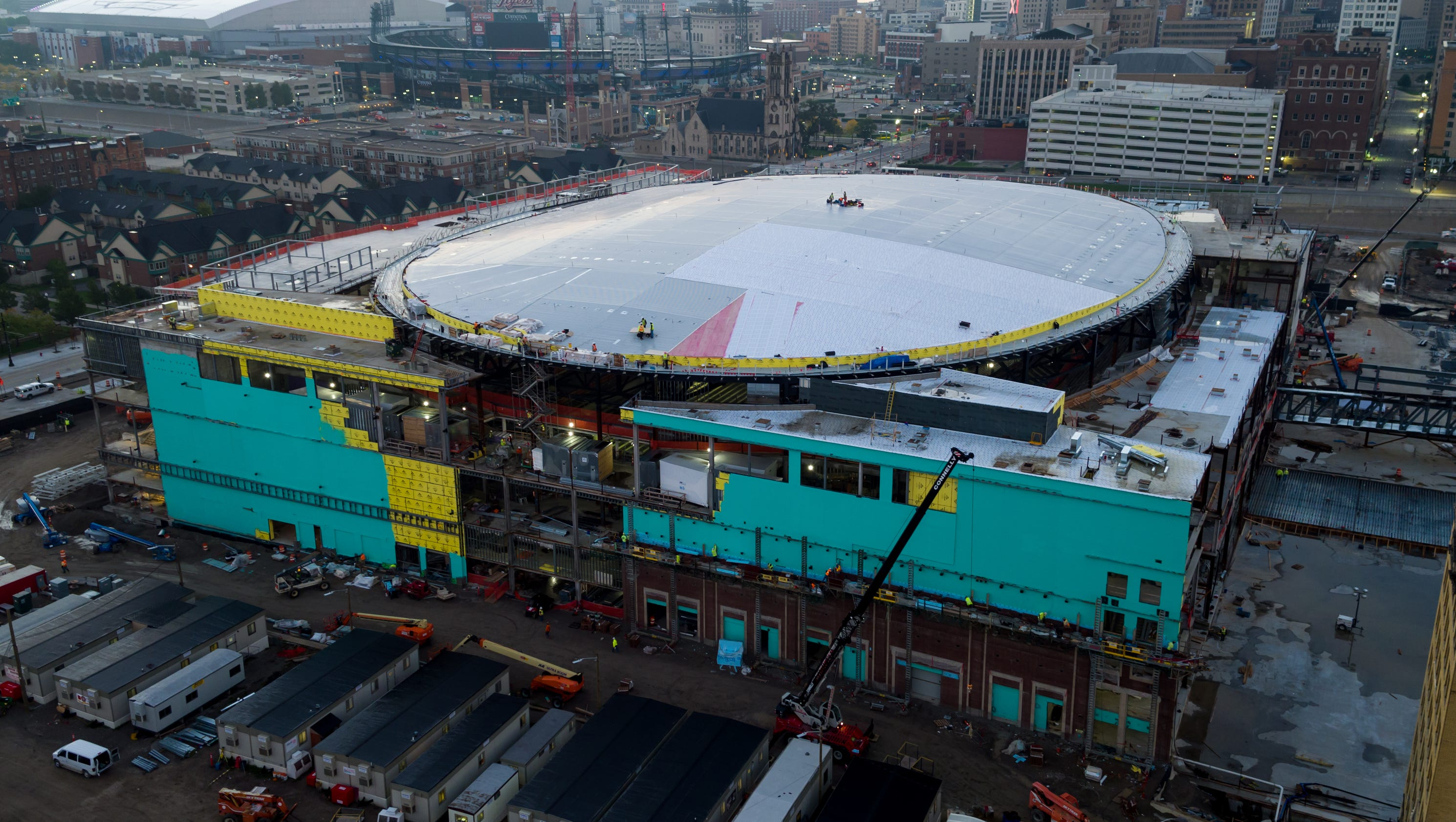 Photos reveal construction progress at Little Caesars Arena