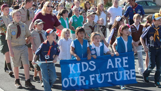 Children walk in the first annual Unity and Peace Walk in Desert Hot Springs on Jan. 19, 2015.