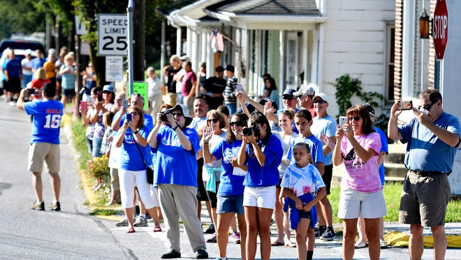 Olympian and Spring Grove native Hali Flickinger, currently of Athens, Georgia,  is honored during a parade down Main Street in Spring Grove on Labor Day, Monday, Sept. 5, 2016.  Dawn J. Sagert photo