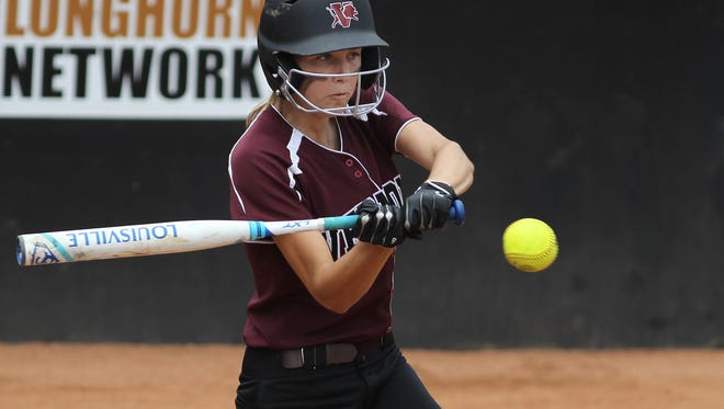 Vernon's Caroline Taylor drives in a run for the Lady Lions during their 6-2 loss to Liberty Hill on Thursday.