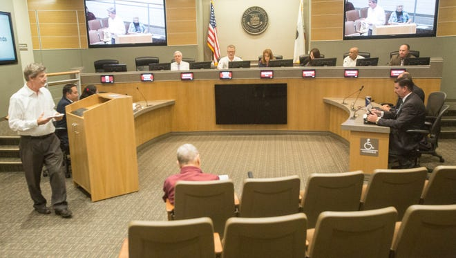The Indio City Council listens to public comments at a meeting on September 20, 2017.