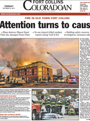 A Coloradoan front page about the Penny Flats Fire,