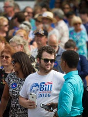The crowd waits in line to see former President Bill Clinton speak at Riverside Community Center in Fort Myers on Tuesday.