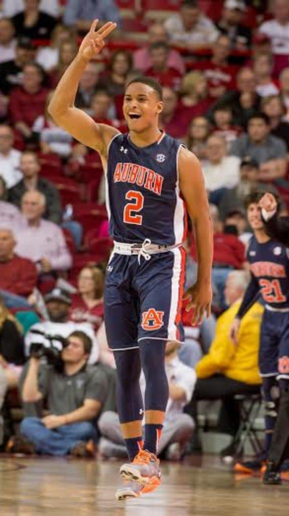 Auburn freshman guard Bryce Brown was one 3-pointer