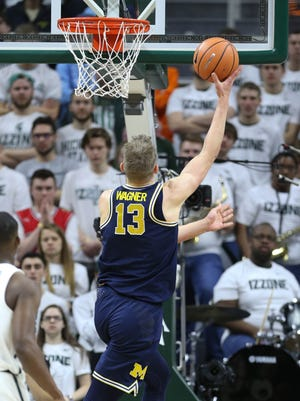 Michigan's Moritz Wagner scored 27 points in 27 minutes in the Wolverines' 82-72 victory over Michigan State on Saturday.