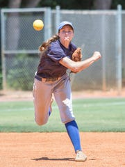 Shortstop Rhiannon Sassman (24) throws to first base as the Argos practice at the University of West Florida softball complex on Tuesday, May 16, 2017.  UWF is preparing for NCAA Super Regional championship series.