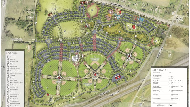 The tentative rendering for the West Park layout includes varied recreation facilities.