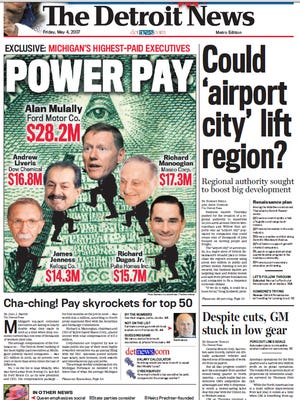 The front page of The Detroit News on May 4, 2007.