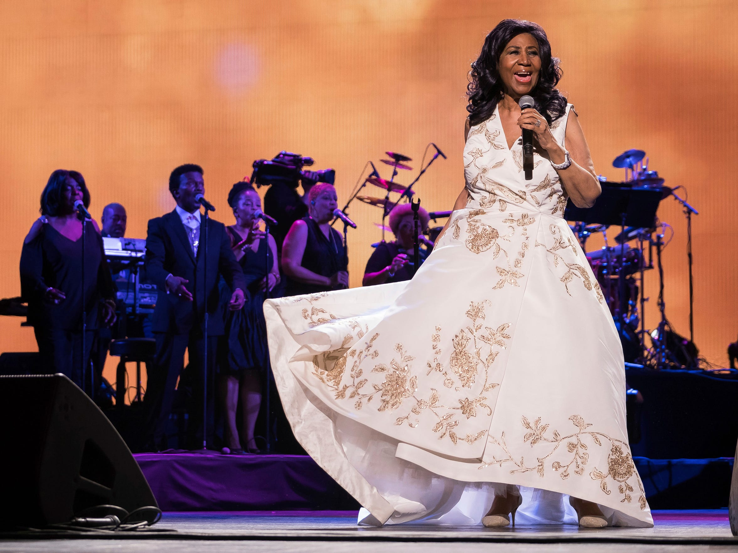 "In this April 19, 2017 photo, Aretha Franklin performs at the world premiere of ""Clive Davis: The Soundtrack of Our Lives"" at Radio City Music Hall, during the 2017 Tribeca Film Festival in New York."